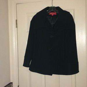AK Anne Klein Wool/Nylon Overcoat Black Size Small